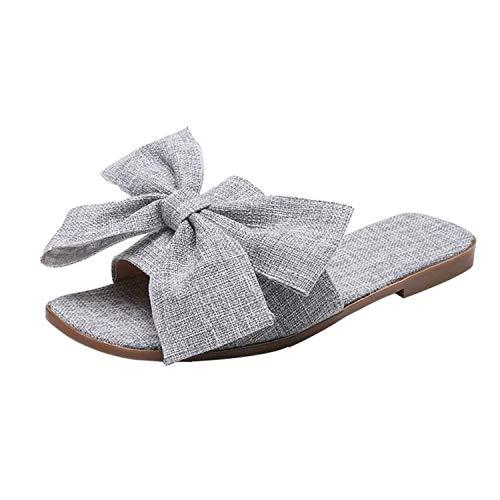 Tiwcer Women Sandals Summer Fashion Flip Flops Cloth Bow Flat Ankle Heel Round Toe Size 35-40 Comfort Sandals Slipper Beach ()