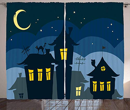 (Futuregrace Halloween Blackout Curtains, Old Town with Cat on The Roof Night Sky Moon and Stars Houses Cartoon Art, 2 Panels Room Darkening Window Curtains, 104