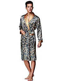BHoming(TM) Mens Silk Robe, Satin Kimono Robe Bath Robe Bathrobe Loungewear
