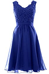Macloth Women V Neck Vintage Lace Chiffon Short Prom Dresses Wedding Party Gown 8 Royal Blue S