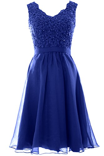 MACloth Women V Neck Vintage Lace Chiffon Short Prom Dresses Wedding Party Gown (8, Royal Blue-S)