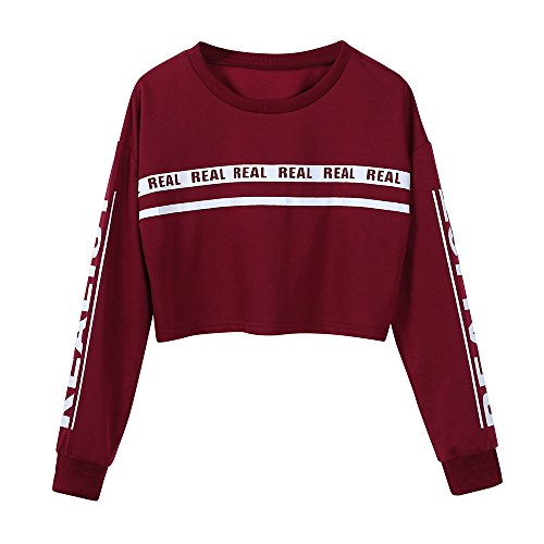Women Sweatshirts Clearance Sale Teen Girls Casual Long Sleeve Real Letter Print Solid Crop Blouse Pullover Tops at Amazon Womens Clothing store: