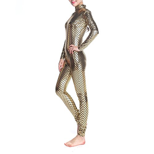 [Muka Adult Unitard Bodysuit Dancewear, Fish Scales Mermaid Costume Leggings - Golden,L] (Morph Suit Costumes Ideas)