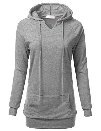 FLORIA Womens Raglan Long Sleeve French Terry Sweatshirt Hoodie Top w/Pocket heathergrey S (Top Terry Hooded)