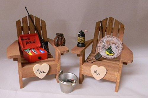 Wedding Party Mr Mrs Fishing Adirondack Chairs Cake Topper ()