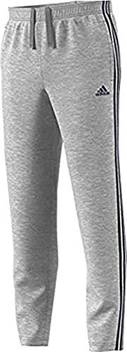 adidas Men's Athletics Essential Cotton 3 Stripe Tapered Pants, Medium Grey Heather/Collegiate Navy, Large