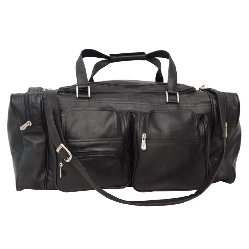 Piel Leather 24In Duffel with Pockets, Black, One Size by Piel Leather
