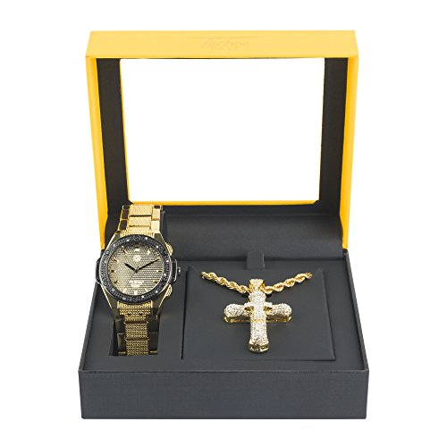 Men's Hip Hop Gold & Black Watch and Iced Out Cross Pendant on Rope Chain Gift Set