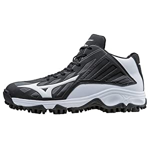 Mizuno Men's 9-Spike Advanced Erupt 3 Mid Black/White 6 D US