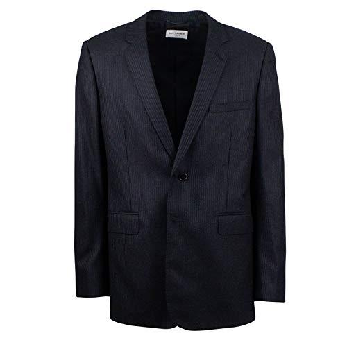 Saint Laurent Paris Men's Saint Laurent Wool Pinstriped 2 Button Suit 54/44 Black ()