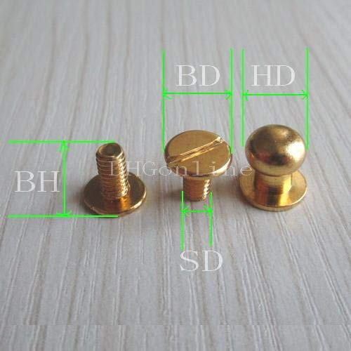 Kamas 2500 Sets Head Button Stud Screwback spot for Screw Chicago Nail 7mm Gold Wholesale
