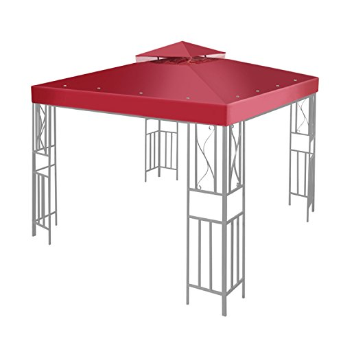 Flexzion 10' x 10' Gazebo Canopy Top Replacement Cover (Red) - Dual Tier Up Tent Accessory with Plain Edge Polyester UV30 Protection Water Resistant for Outdoor Patio Backyard Garden Lawn Sun Shade - Canopy Top