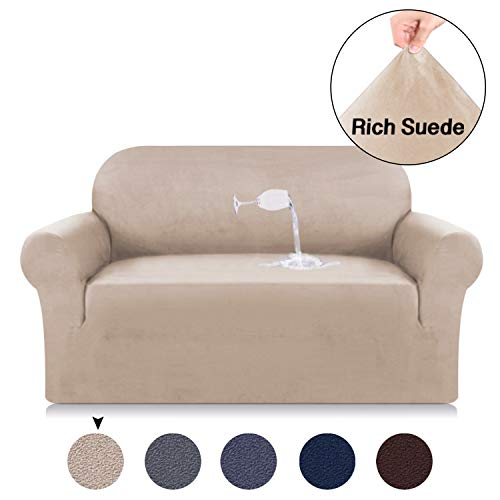 Couch Slipcover for Loveseat 2 Seater Couch Cover Suede Velvet Plush Sofa Cover High Spandex Slipcover Khaki Stretch Suede Fabric Sofa Cover Living Room Spandex Loveseat Cover (Loveseat, Sand)