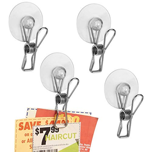 mDesign Suction Storage Clip for Kitchen, Laundry Room, Bathroom (Set of 4) - Clear/Polished Stainless ()