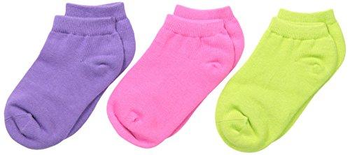 Country Kids Little Girls' Organic PED 3 Pair, Lime/Bubblegum/Purple, Sock Size 5-6/Shoe Size 3-7.5