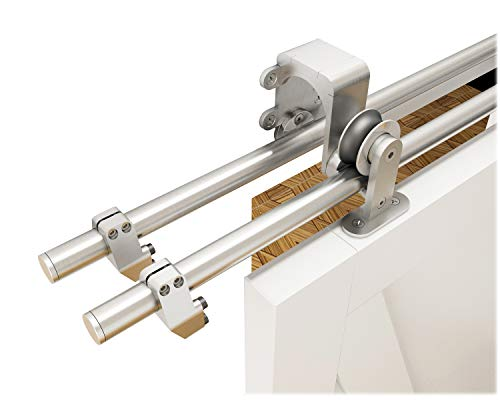 - DIYHD 6FT Brushed Sliding Wood Track Stainless Steel Bypass Barn Door Top Mount Kit