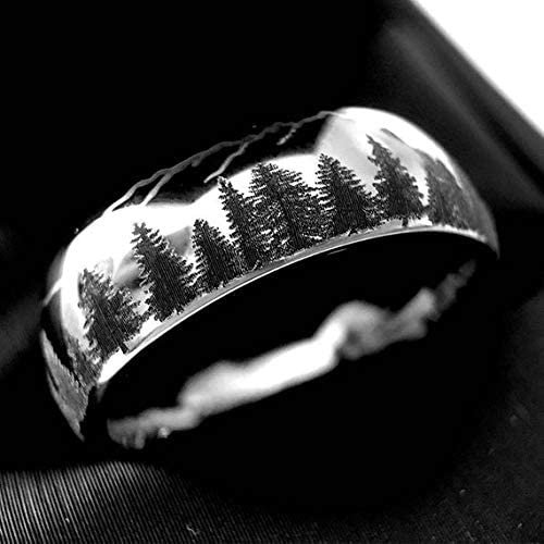 Bands Mountain Engraved Ring His Promise Rings Tungsten Wedding Band Engagement Ring Mens Wedding Band Tungsten Carbide Tungsten Ring