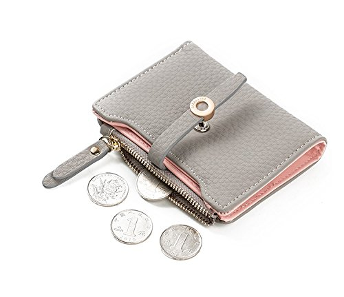 Nawoshow Women Cute Small Wallet PU Leather Girls Change Clasp Purse Card Holders Coin Purse (Grey) by Nawoshow (Image #2)