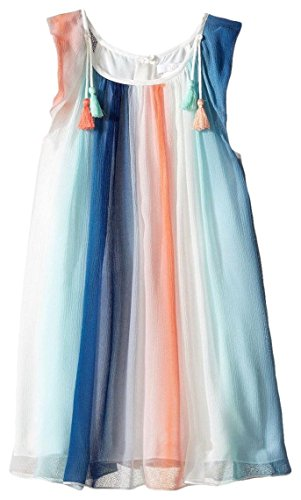 Chloe Girls' Couture Rainbow Striped Sleeveless Dress Kid, Bleu Rouge, 10Y by Chloe