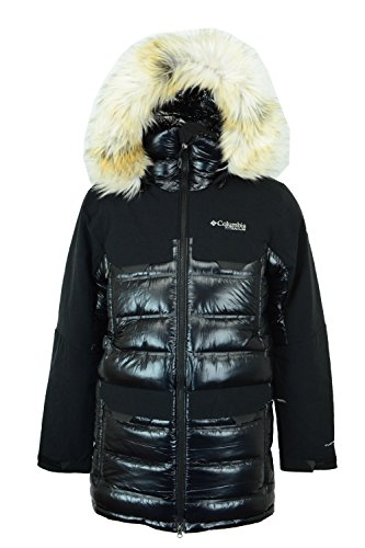 Columbia Mens Heatzone 1000 TurboDown Long Hooded Parka Jacket, Black, - Mens Columbia Jacket Titanium