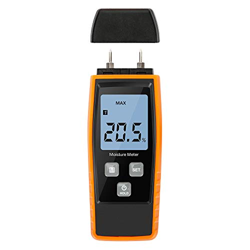 (Wood Moisture Meter, Upgrade Moisture Detector Wood Portable Water Moisture Tester for 8 Material Type Selection Moisture Detector with Digital LCD Pin Type, Range 0% ~ 80%, accuracy: ± 2%))
