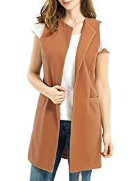 Mooncolour Women Fall/Winter Wool Blend Vest Waistcoat Sleeveless Jacket Coat