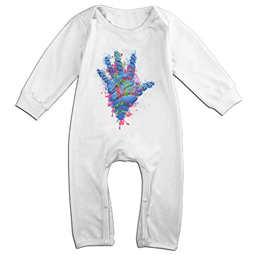 [Raymond Nature VS Humans Long Sleeve Romper Bodysuit Outfits White 12 Months] (Forrest Gump Kid Costume)