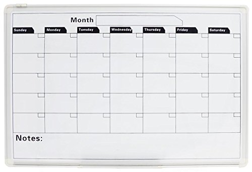 Displays2go Calendar Whiteboard With 1 Month Template With Magnetic