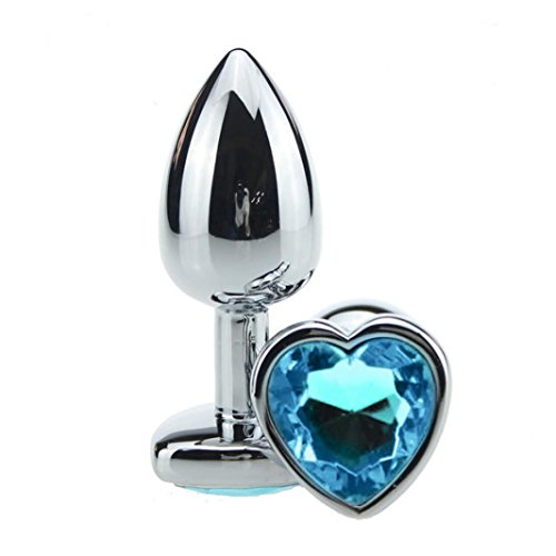 Keliay Stainless Steel Metal Anal Plug Dildo Sex Toys Products Butt Plug for Women (Sky Blue)