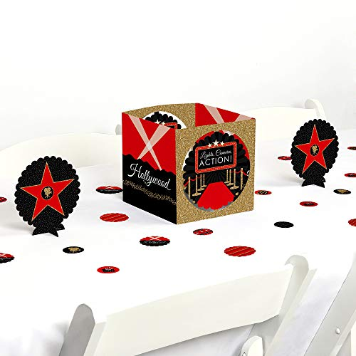 Big Dot of Happiness Red Carpet Hollywood - Movie Night Party Centerpiece and Table Decoration Kit (Hollywood Party Centerpieces)