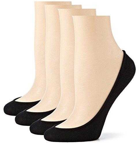 Sakya+No+Show+Premium+Cotton+Socks+Women+Ultra+Low+Cut+Liner+Pack+of+4%2C+Black