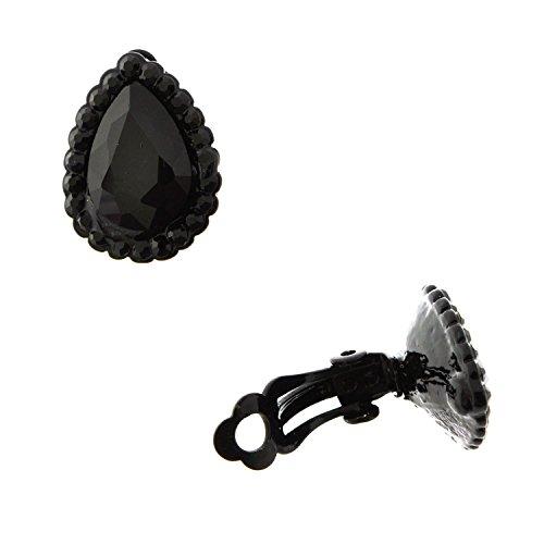 Topwholesalejewel Fashion Jewelry Earrings Black Plating Oval Shape Clip On - Clip Black Earrings