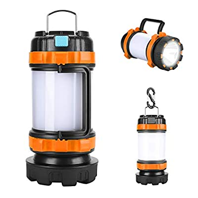 LED Camping Lantern Rechargeable, Brightest Flashlight with 800 Lumens, 4 Lighting Modes, 4000mAh PowerCore, IPX4 Waterproof, Portable for Emergency (Black orange)