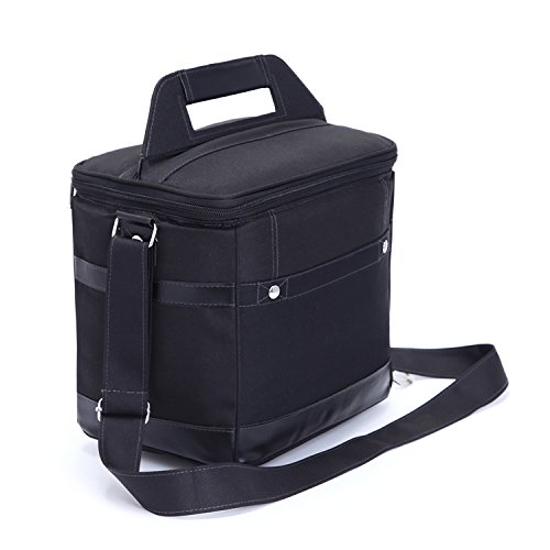 Insulated Lunch Bag Tote Black Food Handbag lunch box with Shoulder Strap For Men Women Kids