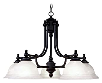 Livex Lighting 4255-04 North Port 5 Light Black Chandelier with White Alabaster Glass