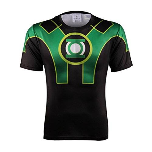 Men's Cool Green Lantern Superhero Quick Dry Running Workout Shirt Black XL