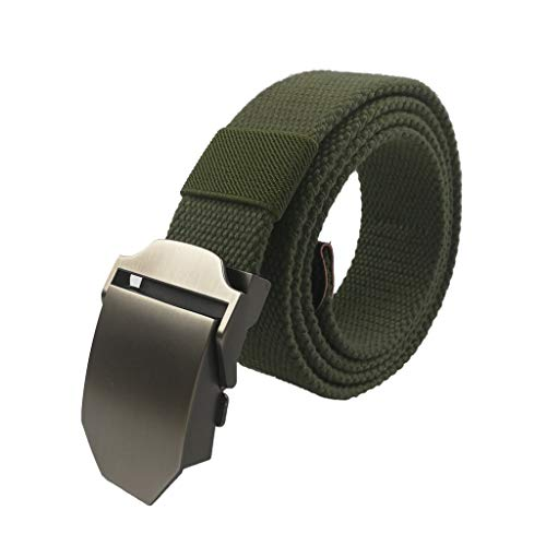 LARRONKETY Men's Military Tactical Web Belt Canvas Waist Belts with Metal Buckle(Solid Army green)