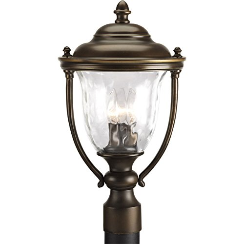 (Progress Lighting P5484-108 3-Light Large Post Lantern with Classic Roof Lines and Unique Cast Yoke Straps in Water Glass Urn Shades, Oil Rubbed Bronze )
