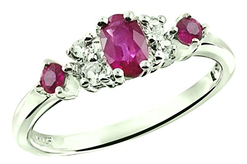 RB Gems Sterling Silver 925 Ring Genuine Gemstone (Emerald, Pink Tourmaline, Ruby) Rhodium-Plated Finish (7, Ruby)