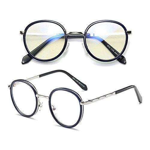 neutres en rondes force d'objectif métal Armature Verres Fuyingda nouvelles Blue bleus de de sans anti Retro lunettes design verres lentille nqxFnwYR4U