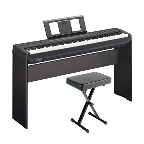 Yamaha P45 88-Key Weighted Digital Piano Home Bundle with Wooden...