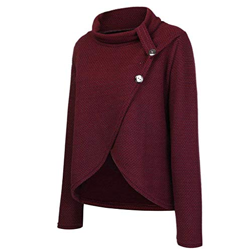 2019 New Womens Long Sleeve Button Cowl Neck Casual Knitted Pullover Tunic Sweaters Plus Size Long Sleeve Shirt by HOSOME Wine