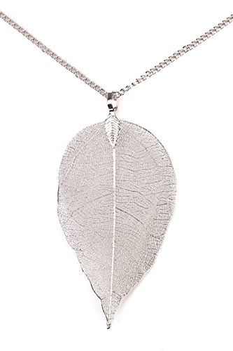 Riah Fashion Women's Filigree Leaf Necklace Long Pendant Necklace (Silver Leaf Pendant)