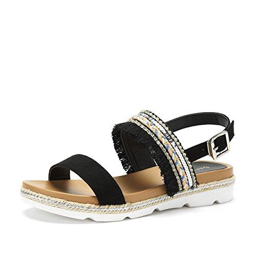 Sort Stil Sandaler Kvast Sko Lav Flop Sko Etniske Sommer Flip Ximu Komfortable Nye Hæl Pumper Kvindelige 1xOOAH