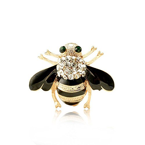 HuntGold 1 PC New Fashion Women Delicate Little bee Crystal & Rhinestone Pin Brooch Black - Rhinestone Crystal Brooch Pin