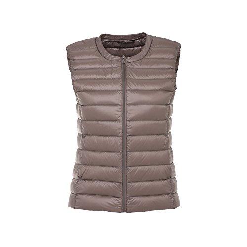 Giubbotto Donna Gilet Wind Coat Giacche Waistcoat Scollo Bmeigo Khaki Con Piumino Rotondo ApdxB0wq