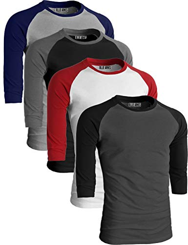 - OLLIE ARNES Men's Basic Crewneck 3/4 Sleeve Cotton T-Shirt Raglan Baseball Top WHRED_LTGNAV_BKCHA_CHABK 4XL