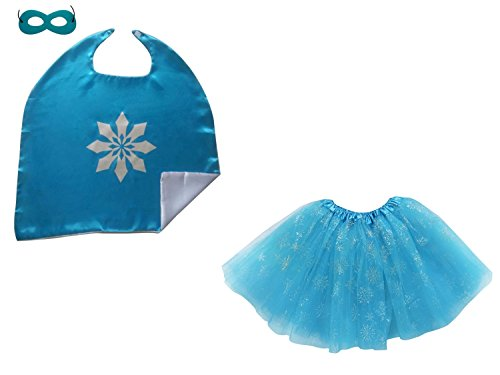 So Sydney Superhero TUTU, CAPE & MASK Adult Teen Plus Complete Halloween Costume (L (Adult Size), Frozen Ice Queen) - Womens The Ice Queen Costumes