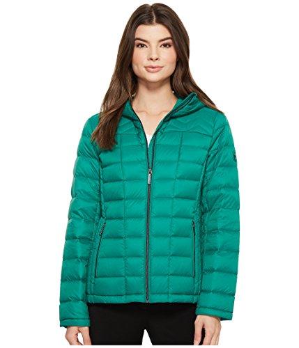 - MICHAEL Michael Kors Women's Zip Front Hooded Packable M823394F Emerald Medium
