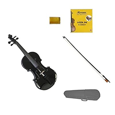 Merano 4/4 (Full) Size Black Violin with Black Bow, Case, Free Rosin and Extra Set of Strings for Beginners, Students, Gifts, Toys: Toys & Games